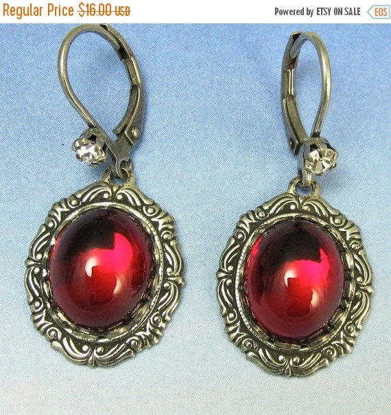 Ruby Red Dangle Earrings Antique Silver Vintage Glass