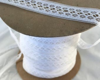 Flat White Lace Trim Sold By The Yard