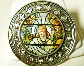 Angel stained glass window pin/brooch - BR10-025