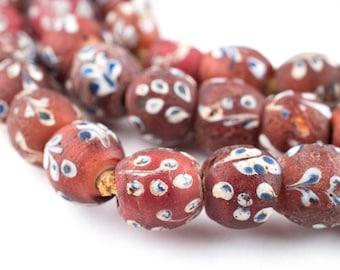 72 Antique Flower Beads - Venetian Trade Beads - Old African Beads - Red Trade Beads - Made in West Africa ** (PB-FLOWER-109)