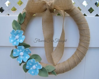 Burlap Wreath with Blue and White Polkadot Felt Flowers, Front Door Decoration, 16 inch wreath, Rustic Home Decor
