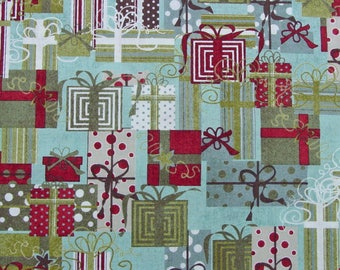 Half Yard - Basic Grey - Moda Figgy Pudding - Christmas Packages - Red Green Aqua White - OOP - HTF