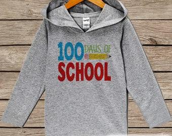 100 Days of School Shirt - 100th Day Shirt - Kids 100 Days of School Outfit - Boy or Girl 100th Day of School Shirt - Grey Hoodie