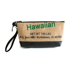 Recycled Hilo Coffee Bag Clutch with Vegan Leather accent