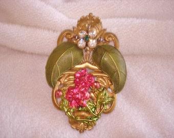 Flower Leaf Multi Color Rhinestone Gold Tone Brooch