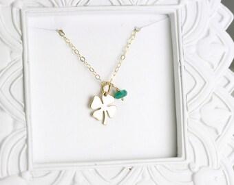 Custom Birthstone Necklace - Clover Gold Necklace - Personalized Birthstone Necklace - Four Leaf Clover Necklace - Gold Lucky Charm Necklace