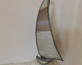 DeMott Metal Sailboat Sculpture. 1970's Shiny Windjammer Skiff on Onyx Art Object