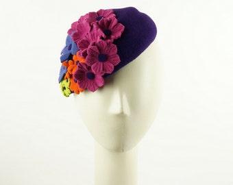 Easter Bonnet Hat, Fascinator Hat, Mother of the Bride Hat, Purple Hat, Pillbox Hat, Wedding Hat, Church Hat, Easter Hat, Purple Fascinator