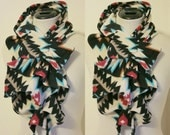 Ruffled Bow Scarf - Fleece tribal print Turquoise, cream, red, black-  Made-to-order