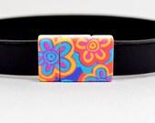 10mm Flat Lightweight Acrylic Clasps - 10F-ACP14 - Pop Art Flowers Pattern