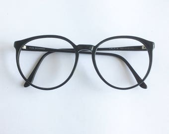 Vintage 1980's Round Black Calvin Eyeglasses