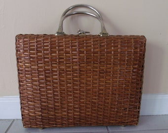 Vintage X LaRGE Designer  1960s  Koret Wicker Purse WOW Handbag
