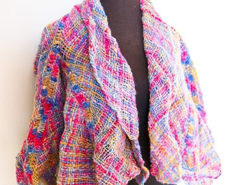 Rainbow rustic poncho vest ready to ship
