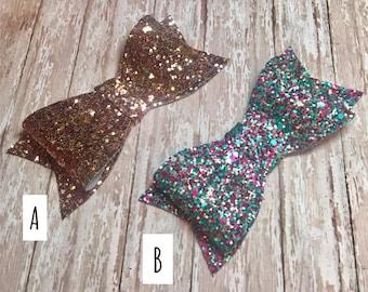Chunky Glitter bow/headband/hair clip or ponytail holder