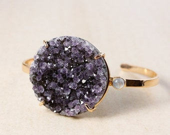 CHRISTMAS SALE Violet Purple Druzy Bangle – Rainbow Moonstone – Sterling Silver w/ Rose Gold Plating