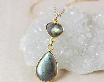 ON SALE Gold Blue Labradorite Necklace – Freeform Pendant – 14K Gold Fill