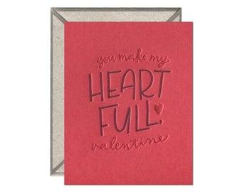 Heart Full valentine's letterpress card