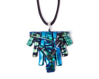 Blue & Green Layered Triangle Necklace