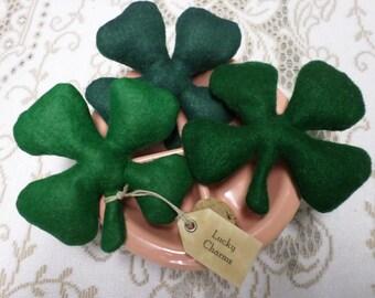 3 Shamrocks Lucky Charms  Felt 4 Leaf Clovers Decorations Bowl Fill Shelf Sitters Ornies St Patricks Day