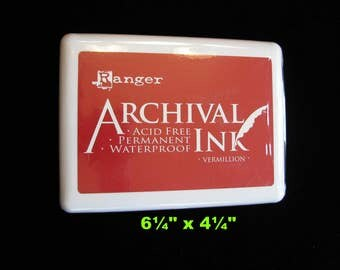 Ranger Jumbo #3 Archival Ink Pad, Archival Vermillion, Giant Red Ink Pad, Acid Free, Permanent Ink, Waterproof Ink, Paper Crafters Supply