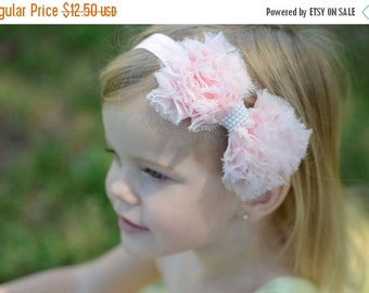 Pink Hair Bow, Pink Chiffon Hair Bow w/ Pearls Stretchy Pink Headband or Hair Clip, Flower Girl, Infant Baby Toddler Child Girls Headband