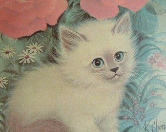 Vintage Soft Cute Kitty with Pink Roses Print in Vac Form Plastic Picture Frame 1960s