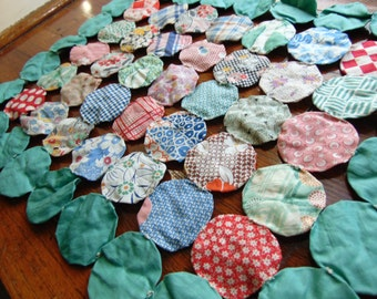 Vintage Feed Sack Yo-Yo Quilt Doily 1930s Fabric Sampler Rectangular Pillow Table Topper