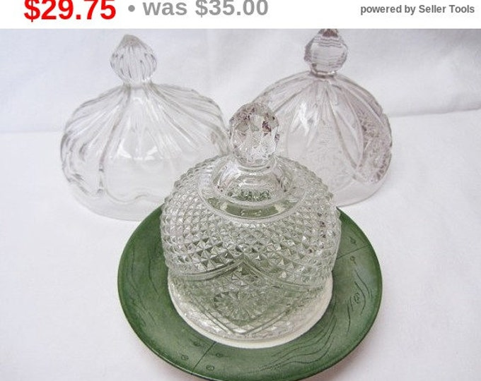 3 Pressed Glass Food Domes, Domes For Display, Glass Domes, Food Domes Vintage, Clear Glass Food Domes, Butter Domes, Mid Century Domes