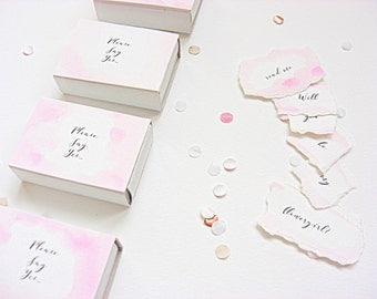 Bridesmaid invitation, message in a matchbox, flowergirl, maid of honour, watercolour