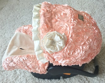 Fancy Infant Car Seat Covers, Baby Car Seat Covers, Slipcovers for Baby Car Seat, Car Seat Covers for Girl, Peachy Petals Baby Carseat Cover