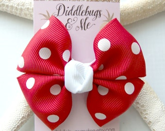 Red Polka Dot Pinwheel Bow, Girls Red and White Polka Dot Hair Bow, White and Red Bow, Girls Dot Hair Bow,Toddler Bows, Back To School Bows