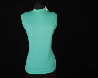 1960's mint mod tank top sleeveless green blouse medium new old stock