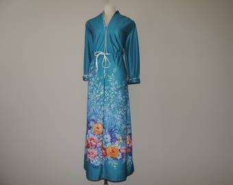 vintage climbing floral dress 70s teal botanical flower print maxi lounge gown large