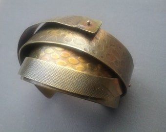 Brutalist Bronze Cuff Bracelet Modernist Armadillo  Vintage Sculptured  Free Shipping  To The Usa And Canada Textured Art