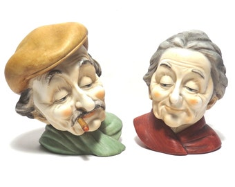 RARE Lefton Old Couple Head Busts Vintage 1960s / 1970s Japan Bisque Grandma & Grandpa Figurines