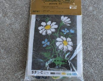 Vintage Needlepoint Picture Kit Daisies Tapestry Floral Design Home Decor Do It Yourself Crafting Supplies