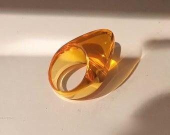 Vintage Lucite Ring Orange Art to Wear Ring Finial Cone Ring Collectible Designer Luca Bonato Italian Design Size 7.25