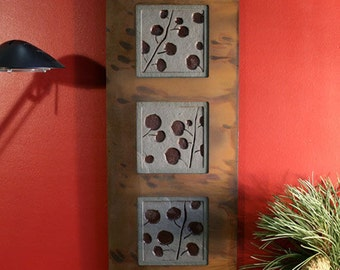 Natural Stone Wall Art Trio - Aspen Leaves on Antique Green Slate w/ Rust Frame