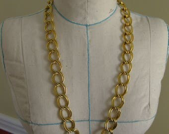 Vintage Goldtone Large Double Link Necklace 30 Inches - Erwin Pearl