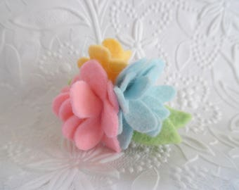 Felt Flower Brooch Mother's Day Wool Pin Felted Corsage Pink Yellow