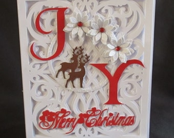 JOy Reindeer Card, SVG,MTC,SCAL,cameo,ScanNCut,Cricut