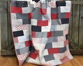 Custom listing for Mary Quilt Throw, First Crush HANDMADE, White, Black, Red, Gray 64x72""