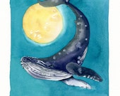 Whales and Worlds, Humpback, original watercolor