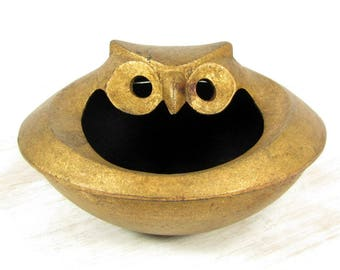 Vtg CAST IRON OWL Cast Iron Incense Censor Dish Gilt Metal Mid Century Modern