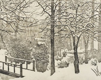 Woodblock Print Snow Day - AWARD WINNER Limited Edition Reduction Print Hand Pulled Landscape