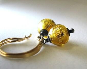 Gold Earrings, Gold Black Earrings, Venetian Murano Glass, Venetian Glass Earrings, Mixed Metal Earrings, 24k Gold Foil - Midnight Moons