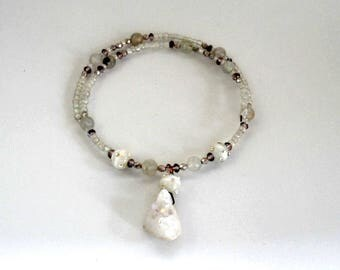 choker, beaded, modern,wrap style  white druzy necklace