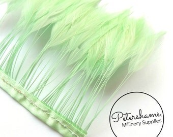 Stripped Hackle Feather Fringe for Millinery, Hat Making 10cm Strip - Mint Green