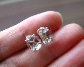 Dew -- Unique Pear Shape Herkimer Diamond Earrings in Argentium Silver