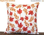 After Christmas Sale Fall Leaves Pillow Cover Cushion Autumn Red Orange Mustard Beige Brown Repurposed Decorative 18x18